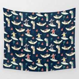 Retro summer blue Wall Tapestry