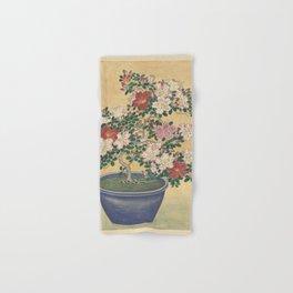 Blooming azalea in blue pot - Ohara Koson (1920 - 1930) Hand & Bath Towel
