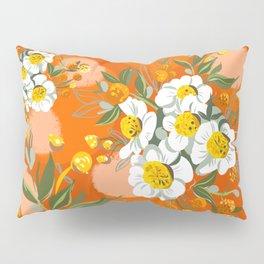 Orange Poppy Flowers Chinoiserie Pillow Sham