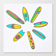 Retro Surfboard Flower Power Canvas Print