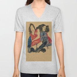 """Egon Schiele """"Zwei Mädchen (Two girls)"""" Unisex V-Neck"""