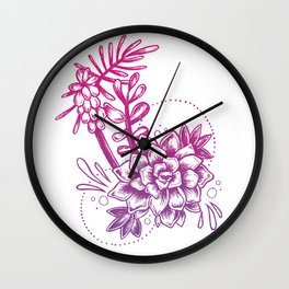 Succulent Study - Pink And Purple Color Palette Wall Clock