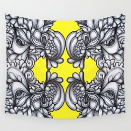 Drips on Yellow. Black and white pen illustration. Wall Tapestry