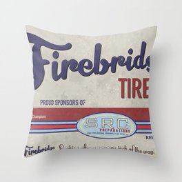 SRC Preparations. Racecar Rebels. Firebridge Poster Cream Throw Pillow