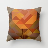hot air balloon Throw Pillows featuring Hot Air Balloon Abstract by Alyn Spiller