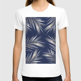 White Gold Palm Leaves on Navy Blue T-shirt