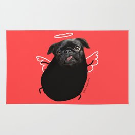 Black Angel Pug Rug