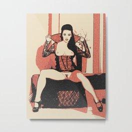 Demonic erotic sexy demonic woman topless, vampire, vampirella girl, halloween costume style, kinky Metal Print