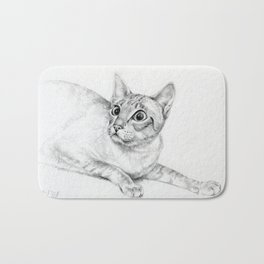 Siamese Cat Hunting Pencil drawing Pet illustration Decor for cat lover Bath Mat