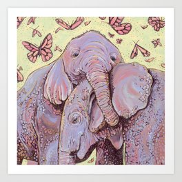 Baby Elephants Art Print