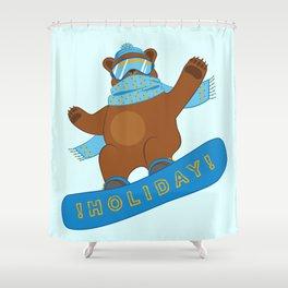 Snowboarding funny Bear Shower Curtain