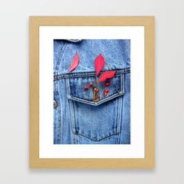 Jeans jacket with red leaves Framed Art Print