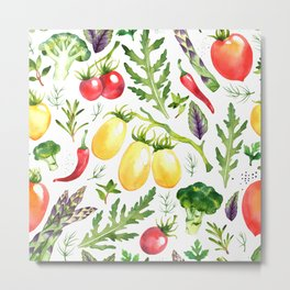 Watercolor vegetables Metal Print