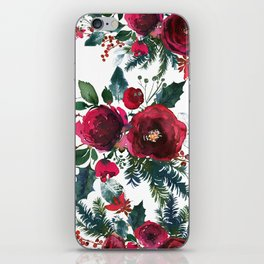 Red burgundy Christmas season floral bouquets love and peace script iPhone Skin