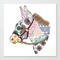 donkey Canvas Prints featuring DONKEY by Mai Kurihara