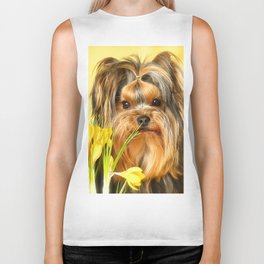 Spring Yellow Crocuses With Yorkie Puppy #decor #society6 Biker Tank