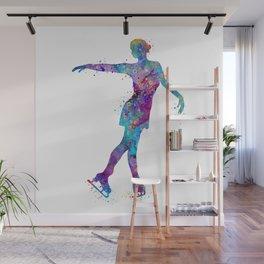 Ice Skating Girl 3 Colorful Watercolor Figure Skating Artwork Wall Mural