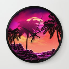 Pink vaporwave landscape with rocks and palms Wall Clock