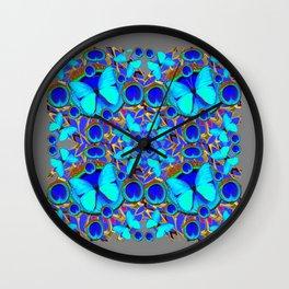 Abstract Decorative Aqua Blue Butterflies On Charcoal Grey Art Wall Clock