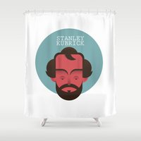 stanley kubrick Shower Curtains featuring STANLEY KUBRICK by Gerardo Lisanti