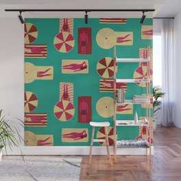 Lazy River - Mid Century Style Beach Day Kitschy Retro Illustration in Red and Teal Wall Mural