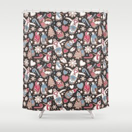 Penguin Christmas gingerbread biscuits Shower Curtain
