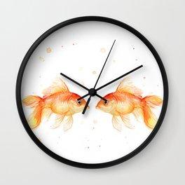 Goldfish Love Watercolor Fish Painting Wall Clock