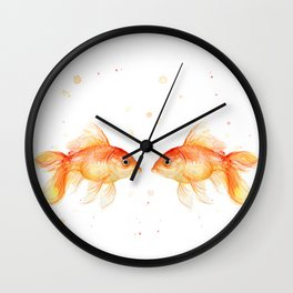 Goldfish Love Watercolor Fish Painting Wall Clock