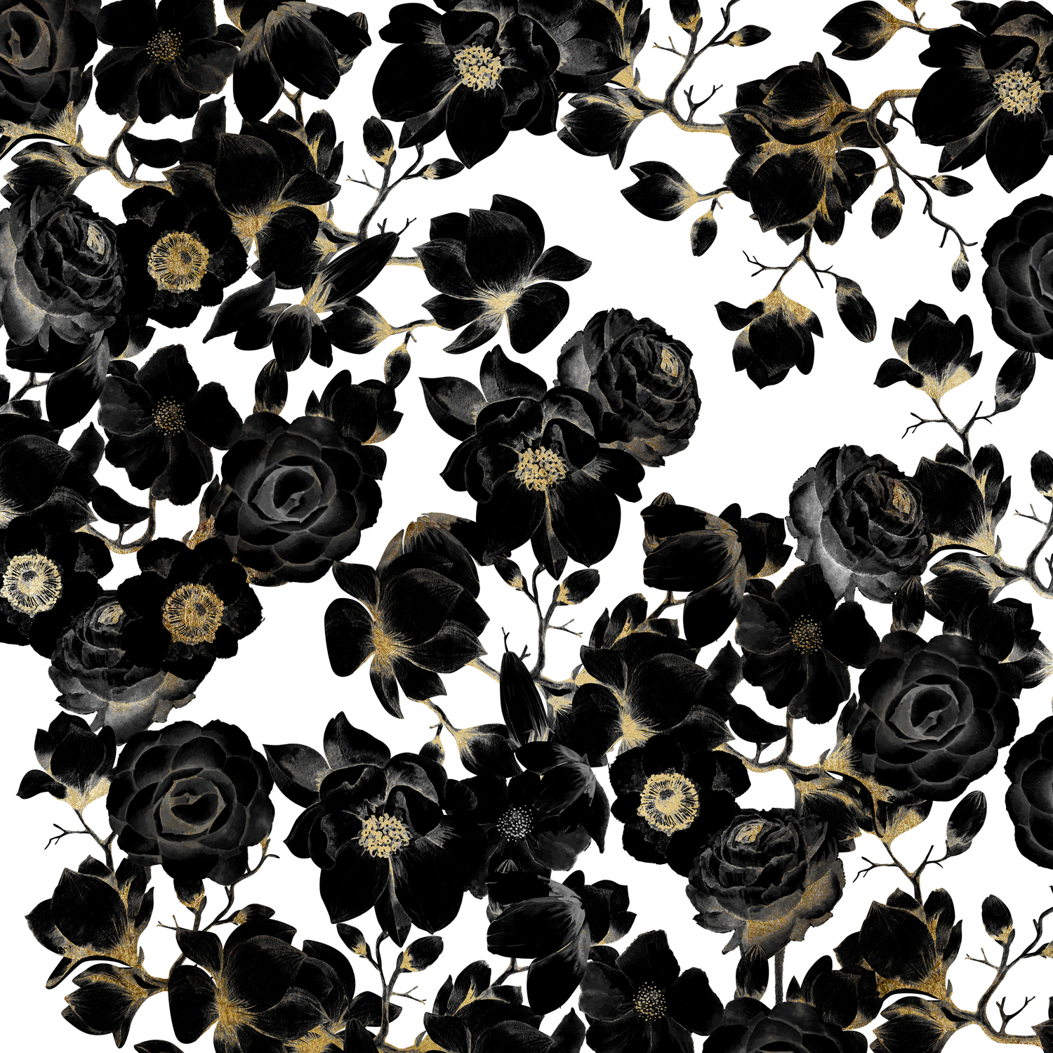 Modern Elegant Black White And Gold Floral Pattern Comforters By