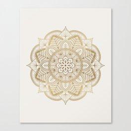 Mandala Beige Creamy Pattern 1 Canvas Print