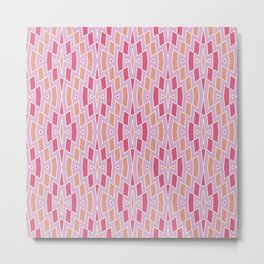 Tribal Diamond Pattern in Pink and Peach Metal Print