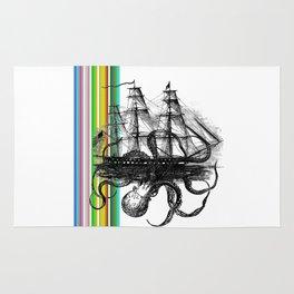 Kraken Attacking ship on Colorful Stripes Rug