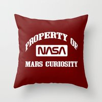 nasa Throw Pillows featuring Property of NASA Mars Curiosity Rover Athletic Wear White ink by RockatemanDesigns