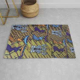 Ankara Print African Ladies Going to Market Rug