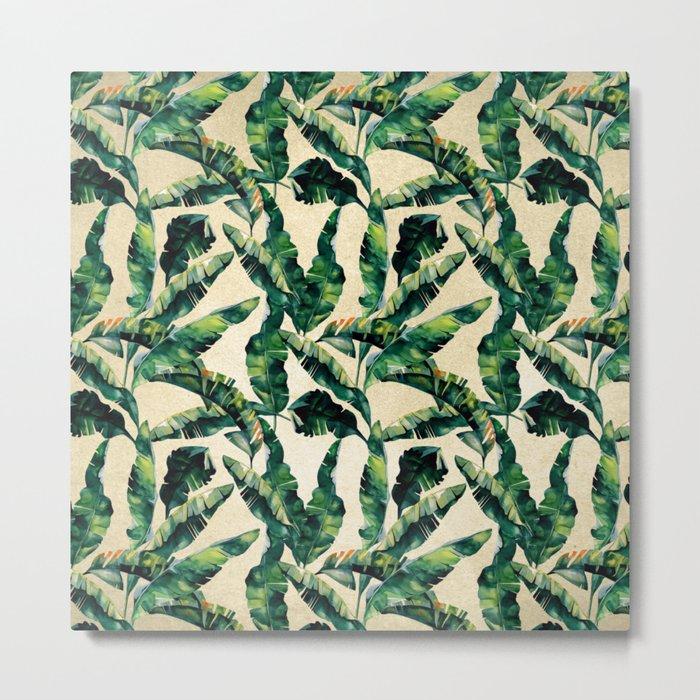 Banana Leaf Pattern Linen Metal Print