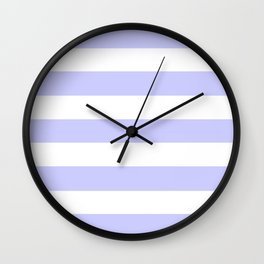 Lavender blue - solid color - white stripes pattern Wall Clock