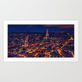 Magnificent aerial view of Paris, France & Eiffel tower at night Art Print