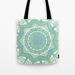 Blue and Green Flower Mandala II Tote Bag