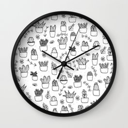 Potted Plants Pattern (Black on White) Wall Clock