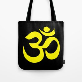 Yellow AUM / OM Reiki symbol on black background Tote Bag