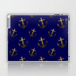 Gold sparkles sparkly anchor pattern navy blue Laptop & iPad Skin