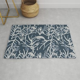 Nautical Toile de Jouy Navy Grey Rug