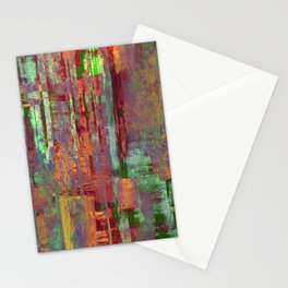 Overexposed - Abstract, textured painting in brown, orange and green Stationery Cards