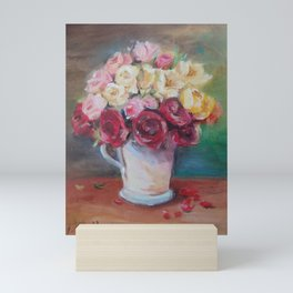 WEDDING ROSES BOUQUET Classic Still life Oil painting Bunch of flowers Mini Art Print