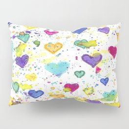 Colorful Heart Pattern Paint Splatters Pillow Sham