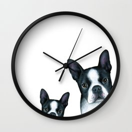 Dog 128 Boston Terrier Dogs black and white Wall Clock
