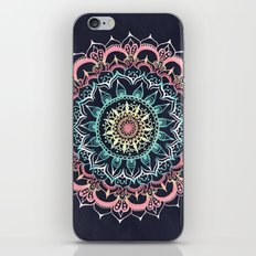 Pink, Cream & Soft Turquoise Glow Medallion on Navy iPhone & iPod Skin