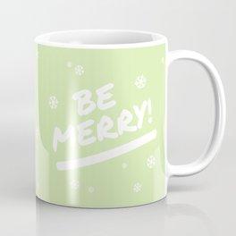 Bright Lime Green Be Merry Christmas Snowflakes Coffee Mug