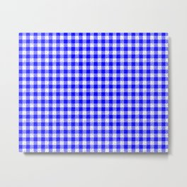 Gingham Blue and White Pattern Metal Print