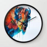 bison Wall Clocks featuring Bison by Slaveika Aladjova